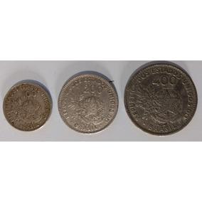 3 Moedas (1901) Série Completa 100,200 E 400 Réis Mcmi