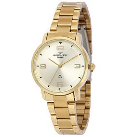 60bea8cc3c5 Relogio Backer Dourado - Relógio Backer con Mercado Envios no ...