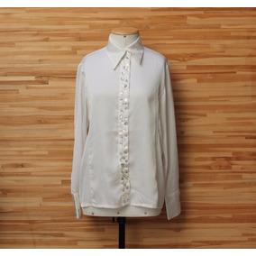 Camisa Social Feminina Perolada Aplicação Botões Tam M Usad e362ac419f6e2