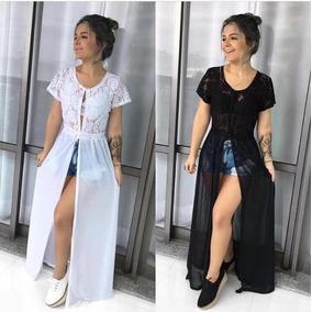 Maxi Blusa Renda Tule Cardigan Kimono Saída Praia Moda 2018
