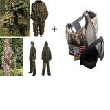 Ghillie Suit 3d Camuflada Caça + Óculos E Máscara Proteção