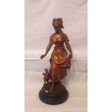 Figura De Petit-bronce, Campesina C/gallinas - Alto 46 Cm Fi