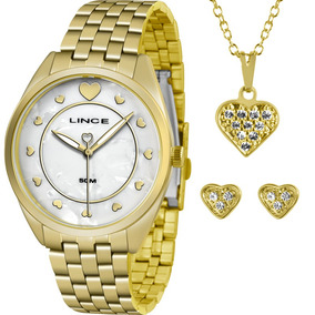 Kit Relógio Lince Feminino Colar E Brincos Lrgh075lkv19b1kx