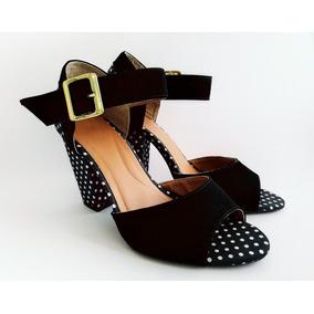 Sapatos Femininos Preta Estampada Salto Alto Promoção