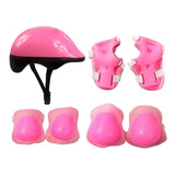 Kit Proteção Infantil Skate Patins Bike Com Capacete Rosa