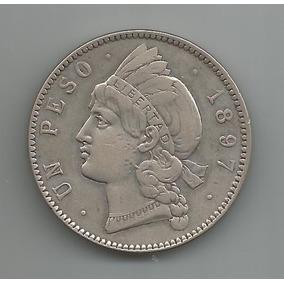 Moeda Prata Da Republica Dominicana - 1 Peso - 1897 - Rara