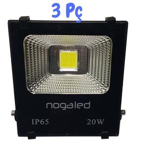 Refletor Led Cob 20w -6500k Kit 3pç Alta Qualidade Nogaled
