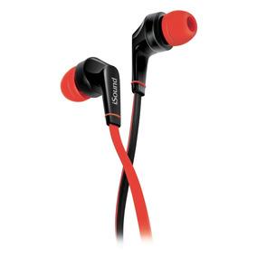Audífonos Con Micrófono De Cable Plano Rojo Em-60 Isound