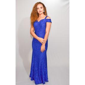 3ad7f3a49 Vestido Azul Royal Longo Festa Ombro A Ombro - Calçados