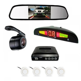 Kit Sensor De Estacionamento Branco + Câmera De Ré + Espelho