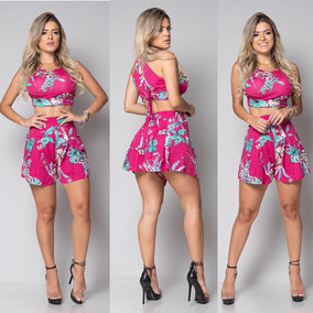 Conjunto Shorts Curto + Croped C/ Bojo Femenino Viscolycra