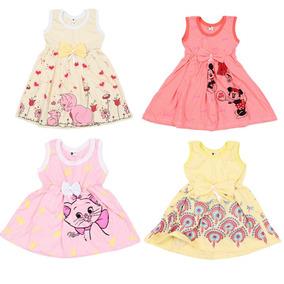Kit 10 Vestido Infantil Bebê Menina Sem Manga Estampado