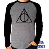 Camisa Raglan Manga Harry Potter Relíquias Da Morte Mescla