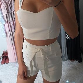 Conjunto Feminino Cropped E Short Curto Laço