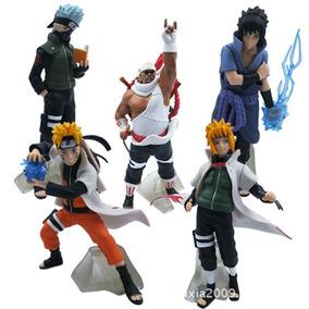 Kit Coleção 5 Bonecos Naruto Sasuke Kakashi Minato Killerb
