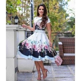 Vestidos Midi Godê Moda Evangélica Estamplas Florais
