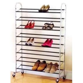 Sapateira Com Rodas Cromada Até 40 Pares De Calçados Sapatos