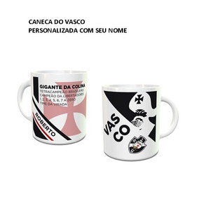 Caneca Porcelana Personalizada - Time Futebol Vasco 04 Pçs 7ac15c24744ee