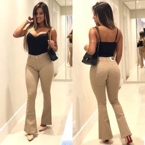 Calça Jeans Roupas Femininas Boot Cut Cós Alto Flare Oferta