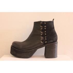 fb7beecf Zapatos En Cuero Con Poca Plataforma Botas Mujer - Botas y Botinetas ...