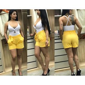 Shorts Linho Clochard Com Cinto Com Bolso Moda Blogueira