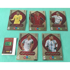 5 Cards Xxl Copa 2018 Adrenalyn Panini Neymar Cr7 Messi Kane