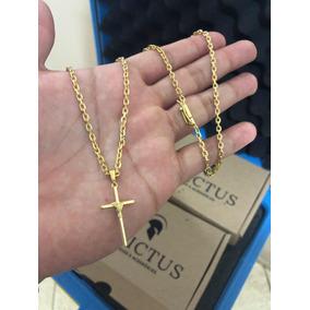 Cordão Cadeado 2mm 70cm + Cruz Palito Mini Banhados Ouro 18k
