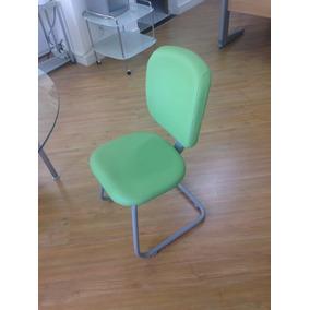 Conjunto De 4 Cadeiras Fixas, Ergotech, Couro Ecológ. Verde