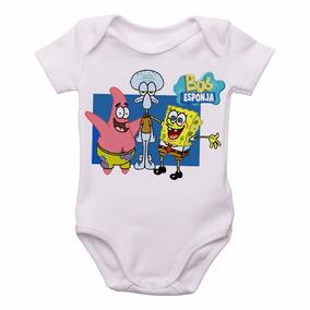 c4bb0525a Body Criança Roupa Bebê Nenê Bob Esponja Patrick Lula Molusc