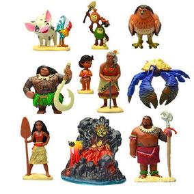 Kit 10 Bonecos Miniaturas Moana Coleção Disney Hei Hei