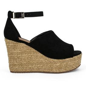 Alpargatas Zapatos Dama Plataforma Tacon Corrido Negros 9120