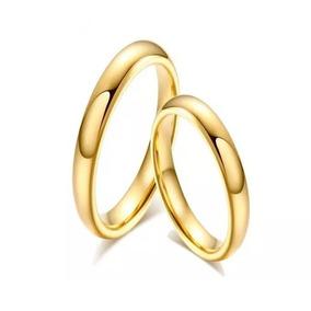 Aliança Lisa Tradicional Tungstênio Banhada A Ouro 4mm Fina