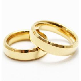 Par Aliança Tungstênio 6mm Chanfrada Banhada Folheada Ouro