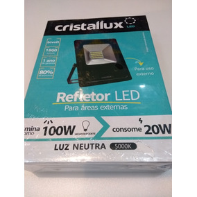 Refletor Led Slim 20w Luz Neutra Bivolt Ip65 Cristallux