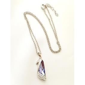 Collar De Zapatilla Dama De Cristal Swarovski Y Platino Lam. 9301af35d748