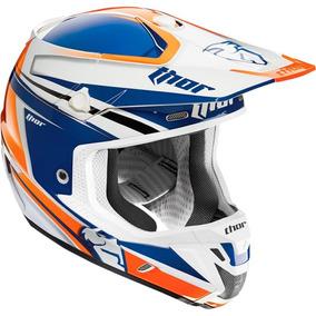 Capacete Thor Verge Flex - Branco/laranja/azul