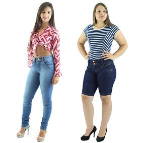 Combo 1 Calça Jeans Feminina + 1 Bermuda Jeans + Frete