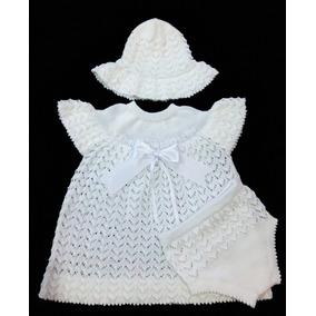 Roupa Batizado Bebê Vestido Chapéu Calcinha Linha Ref.162 ab0f5a99c7a