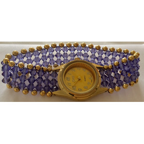 Reloj Piedras Dama Color Violeta. Largo Pulso 1