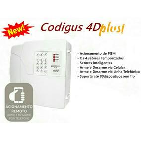Central Alarme Ppa Codigus 4d Plus +4 Sensores Sem Fio Porta