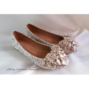 Zapatos Flats Novia Para Primera O Comunión Encaje Cristales 287e87d2c45