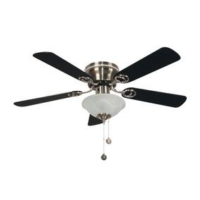 Ventilador Techo Níquel Satinado Negro / Roble 2 Luces 42