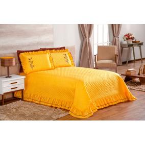 f332004315 Cobre Leito Casal Queen Amarelo Ester Com 5 Peças Colcha