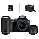 Cámara Nikon D3500 + 18-55mm + 70-300mm +35mm