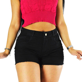 Shorts Preto Sol Jeans Com Lycra Barra Desfiada Rasgado 492