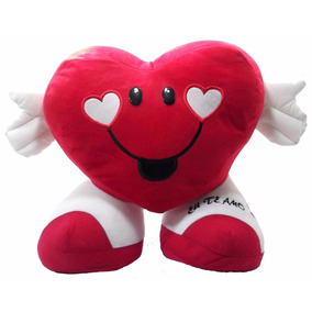 e610609cc0 Coração De Pelúcia Com Sapatos Eu Te Amo Presente Fofo - Brinquedos ...