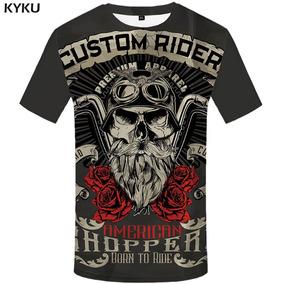 Camiseta Cinza Escuro Moto Chopper Custom Riders M.c. Tam. M