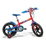 Bicicleta Aro 16 Com Rodinhas Homem Aranha Vermelha - Caloi