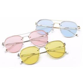 869a0c7c5c507 Óculos De Sol Aviador Transparente   Amarelo Pow Lentes Fire ...