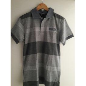 6c0c90b9f1 Camiseta Pólo Cinza Listrada Gajang